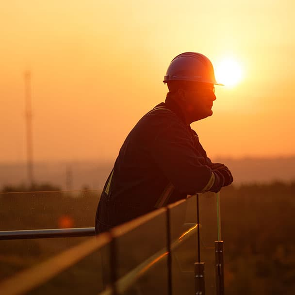 Silhouette of male worker at Wapisiw Lookout