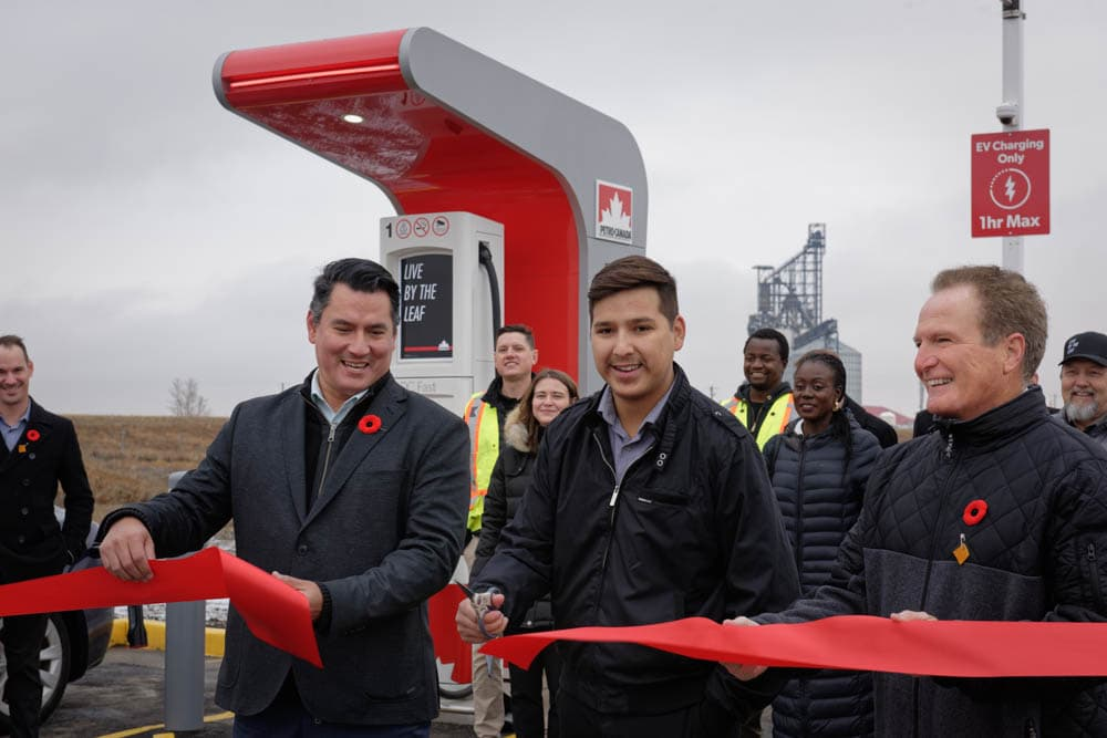Siksika Nation Petro-Canada electric vehicle charger station ribbon cutting