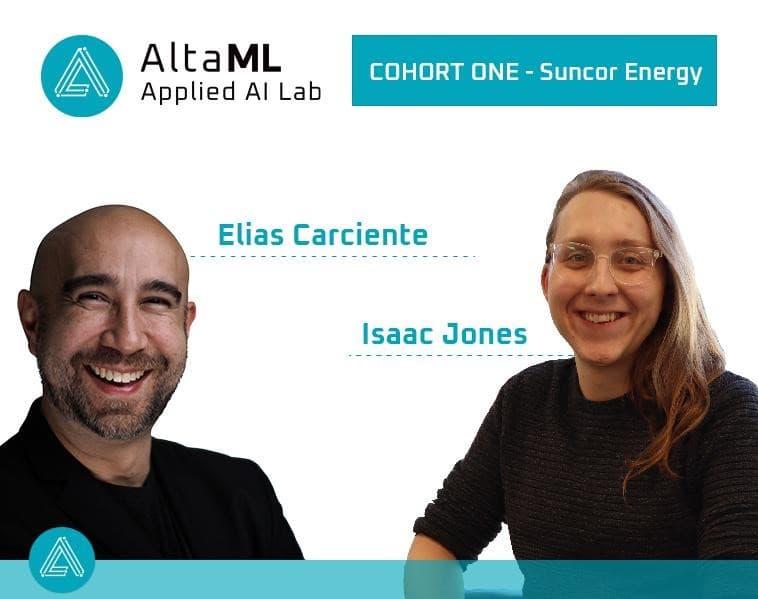 Deux stagiaires pour AltaML souriant avec fond blanc et texte bleu de leurs noms