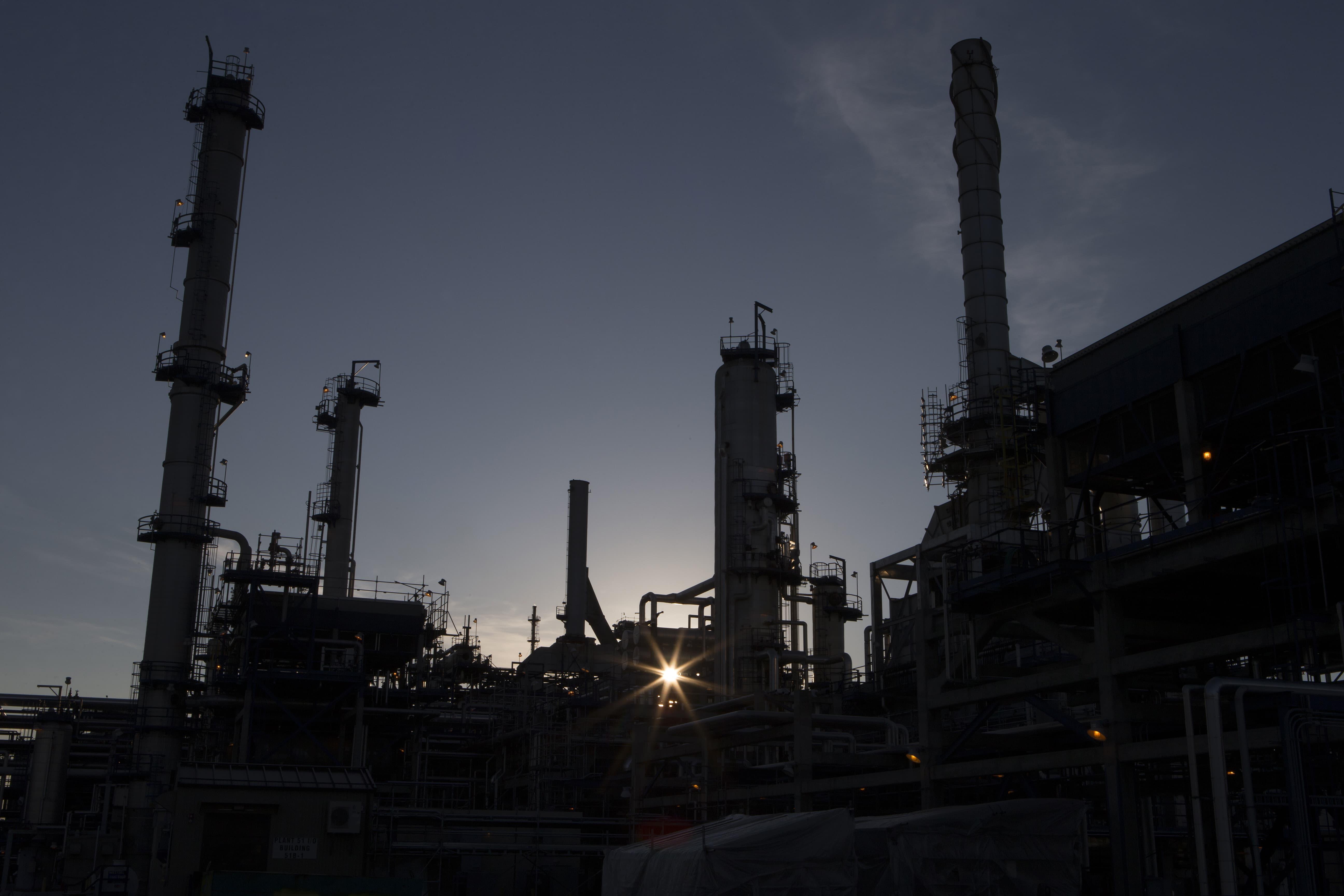 Suncor's Edmonton refinery at sunset.