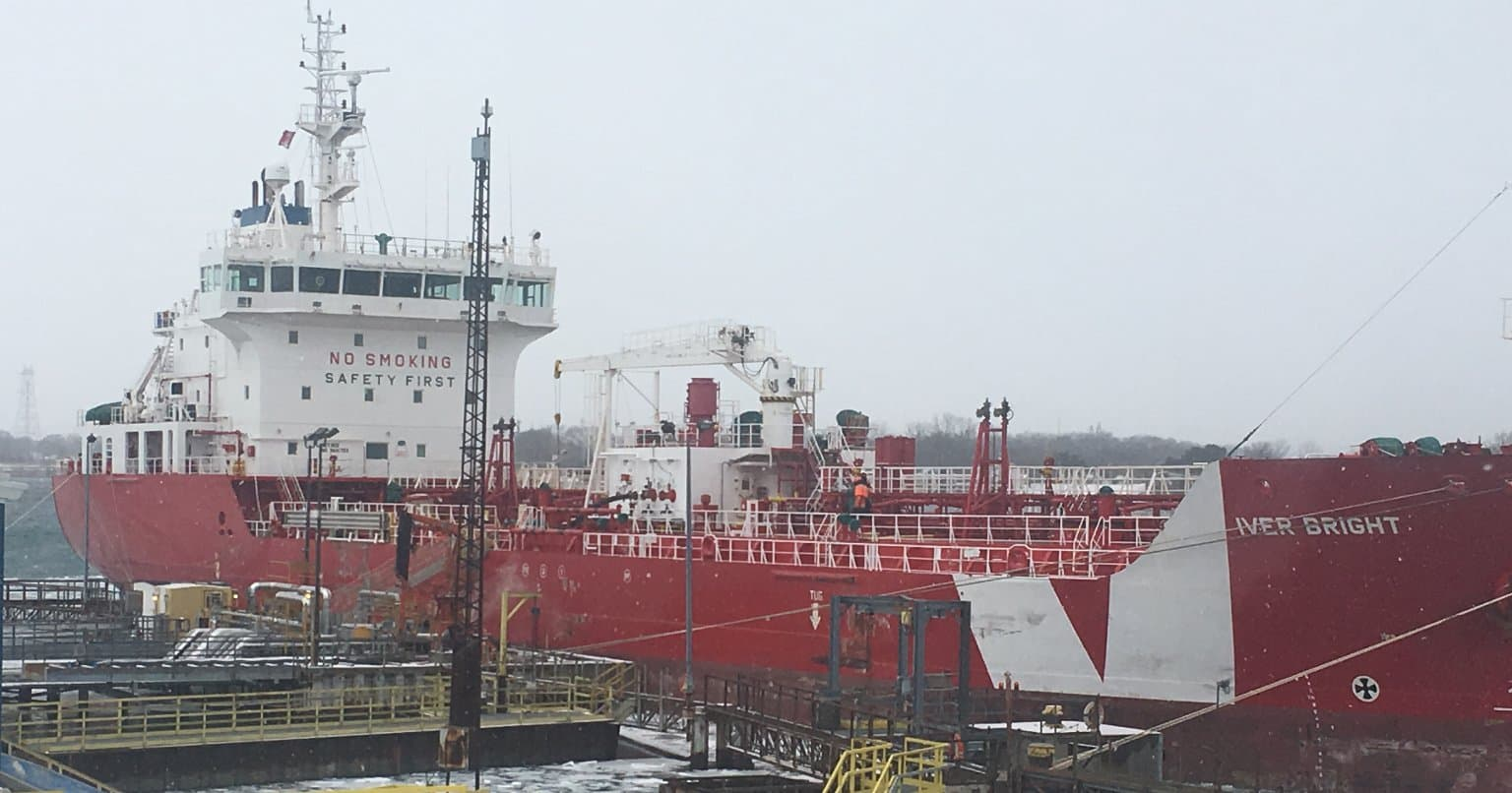 Our Iver Bright ship in Sarnia in winter
