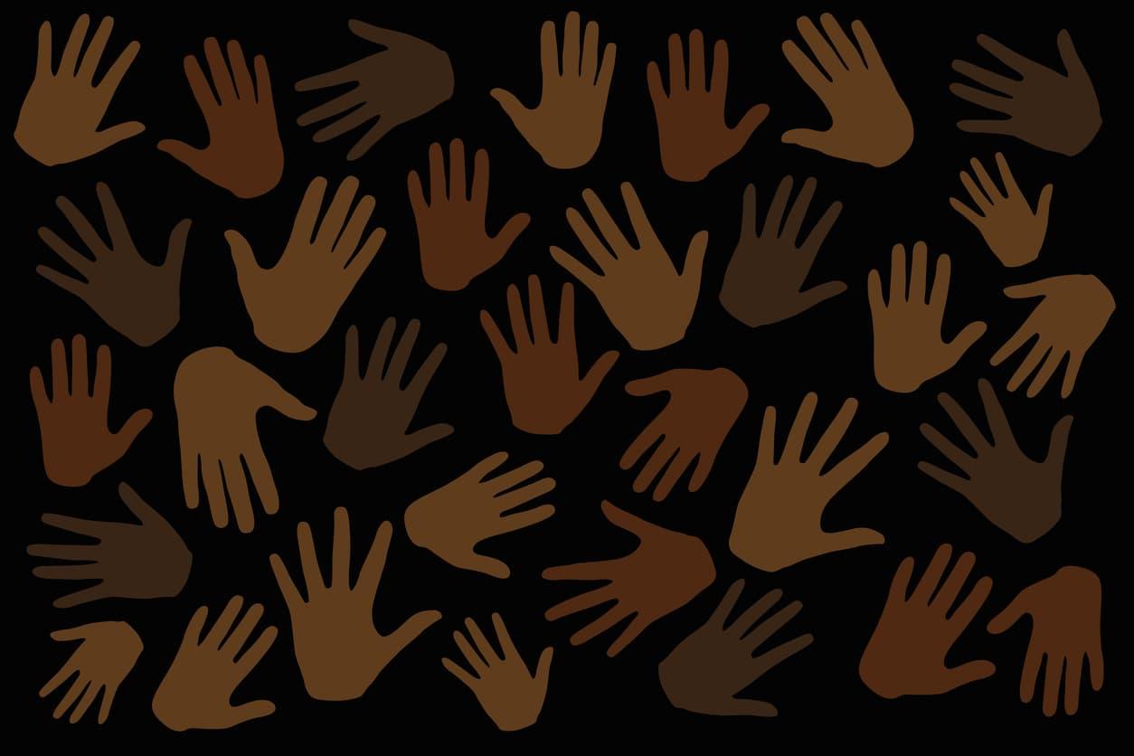 fond noir avec des mains de différents tons de brun évasé sur tout le graphique