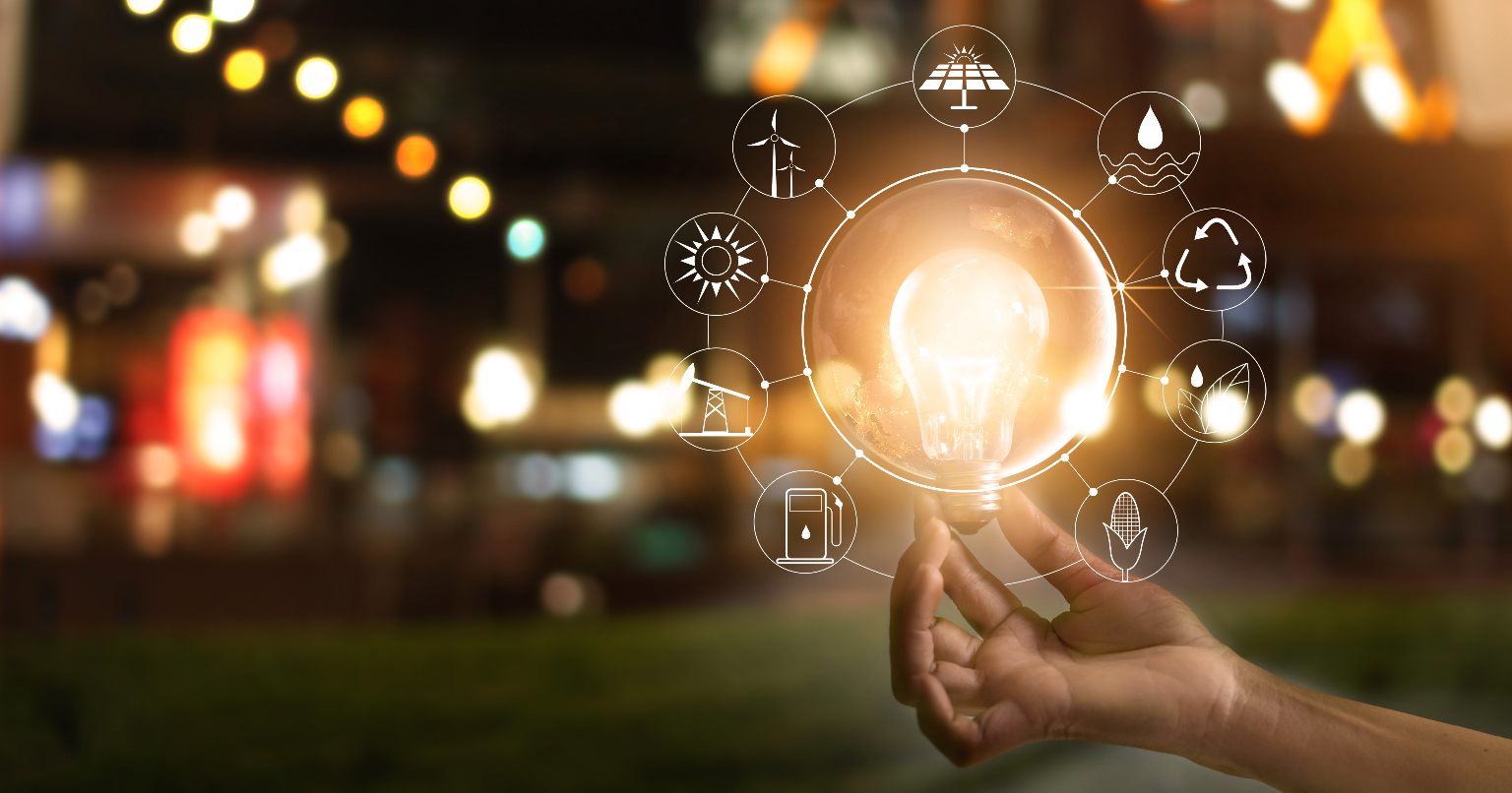 stock image of hand holding light bulb
