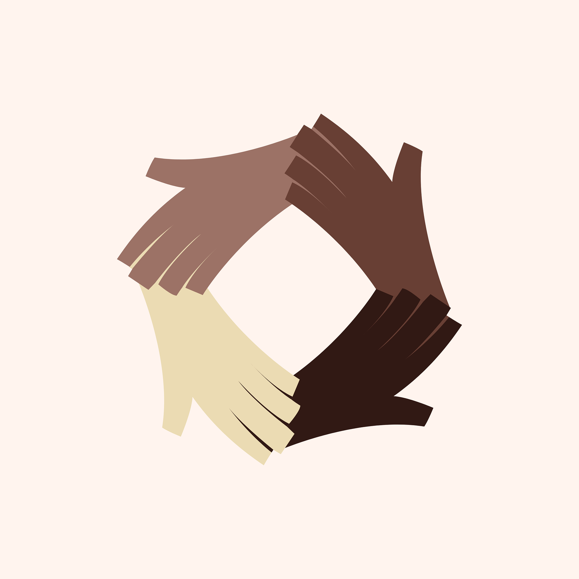 digital image of four hands holding each other in a circle of different skin tones
