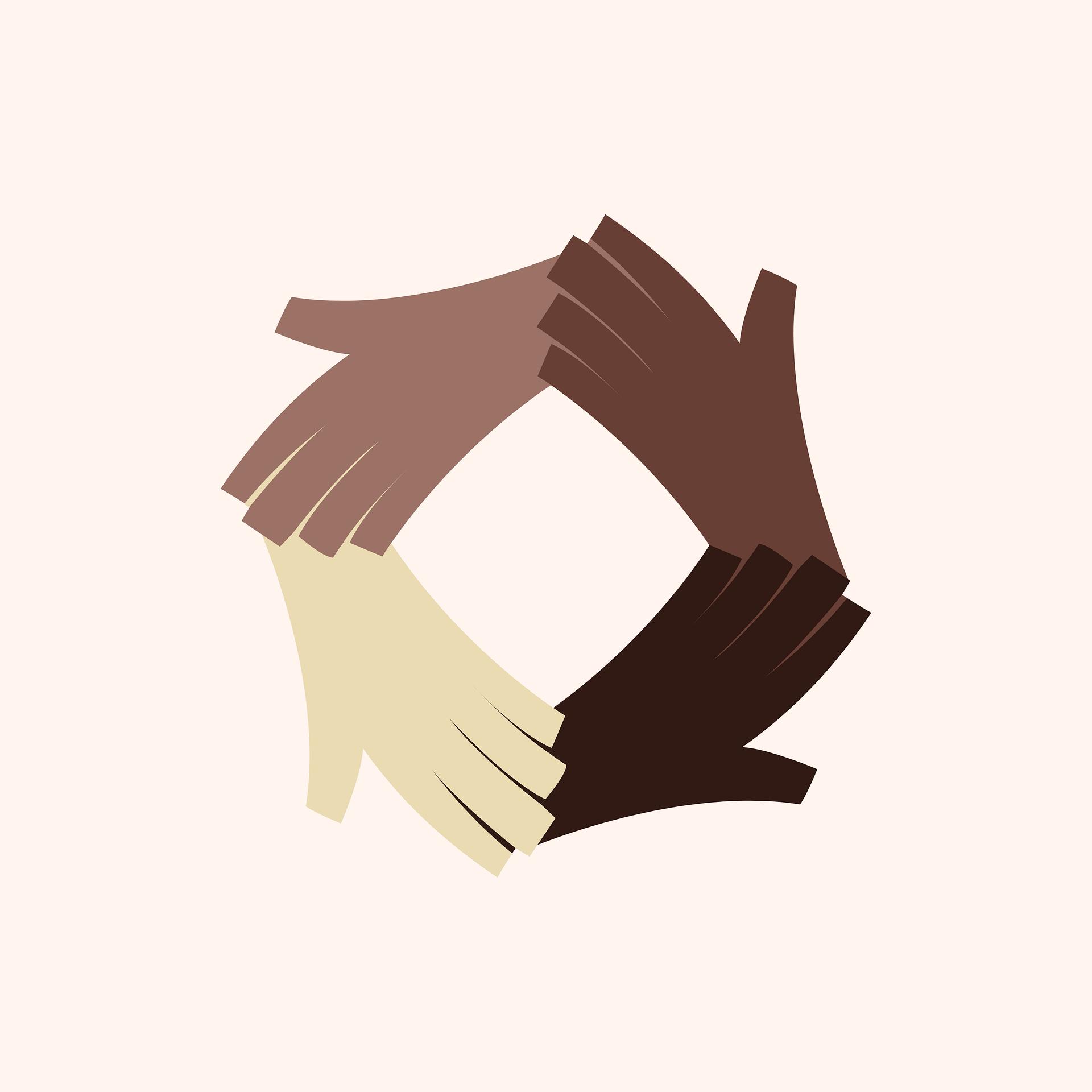Image numérique de quatre mains se tenant dans un cercle de tons de peau différents