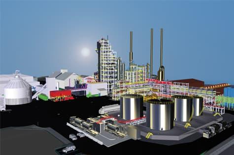 Image de rendu de l'usine de biocarburants du Québec