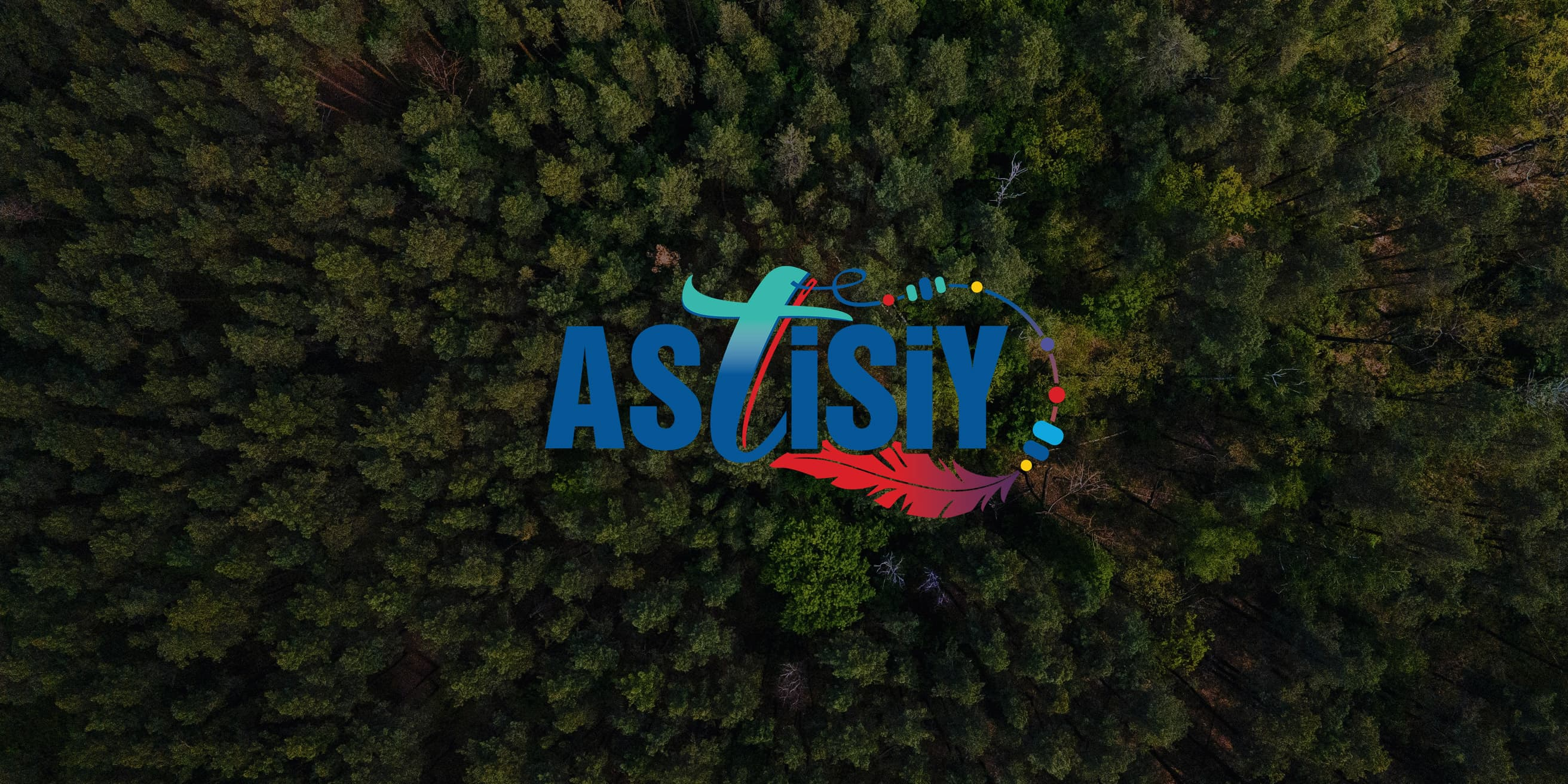 Astisiy logo on tree background.