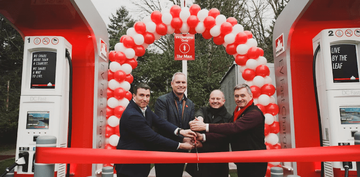 Sucor CEO and Pat Ritchie along two other men cutting a ribbon on the last site of electric vehicle charging station
