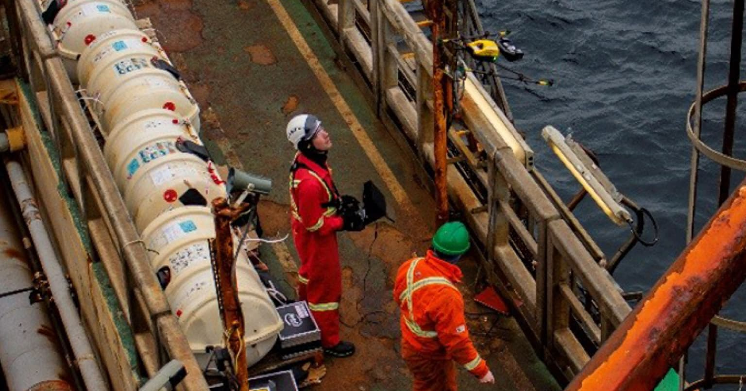 Image of Suncor employees on FPSO taken by a drone
