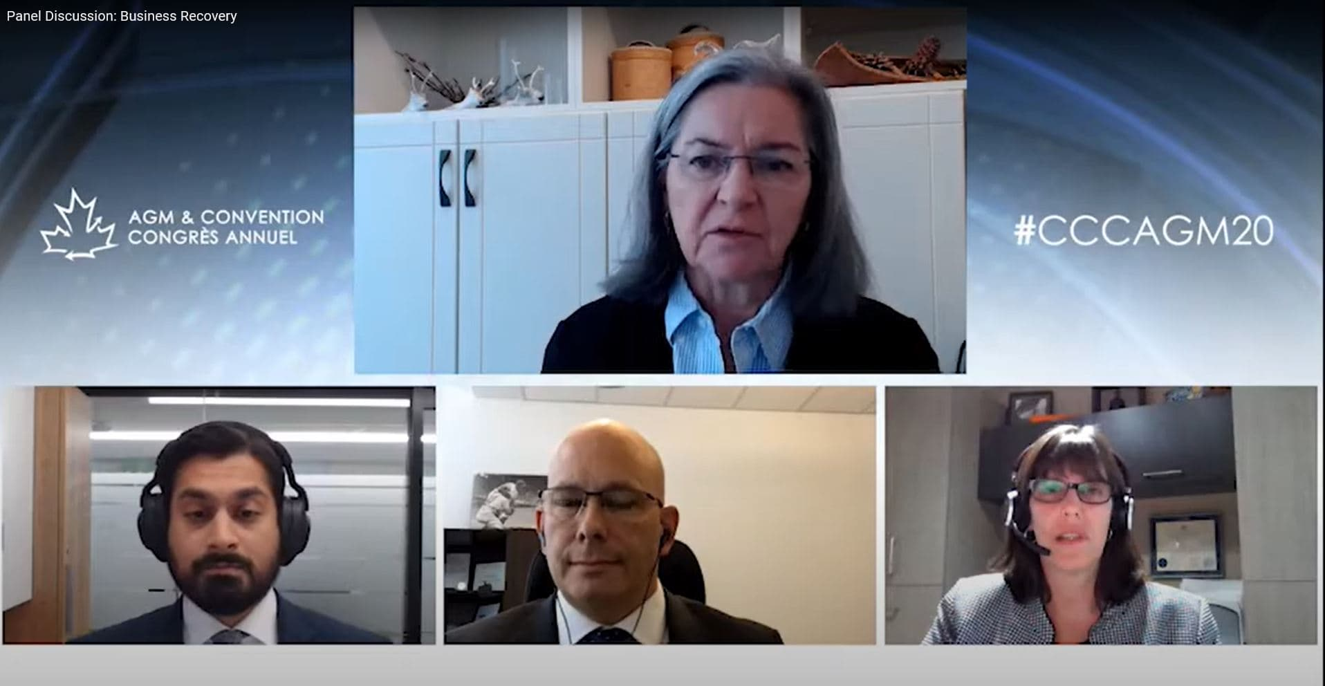 Martha Hall Findlay, Chief Sustainability Officer, Suncor, Todd Winterhalt, Senior Vice-President, Communications and Corporate Strategy, EDC and Janet Drysdale, Vice-President Financial Planning, CN Rail, on the virtual Business Recovery Panel at the 2020 Canadian Chamber of Commerce AGM.
